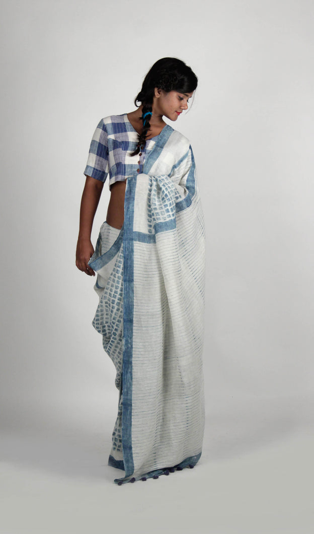 Priyamvada | Natural Indigo printed white linen saree