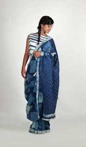 Kahini | Indigo dabu printed Linen saree with geometrical prints