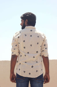 Back view of cotton casual shirts for men by Resha with block printing