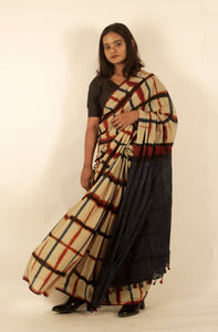 Cecile | Cotton mul saree printed using Itajime clamp dyeing