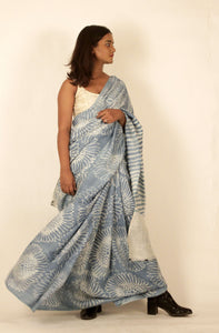 Harper | Mulberry silk saree using natural indigo
