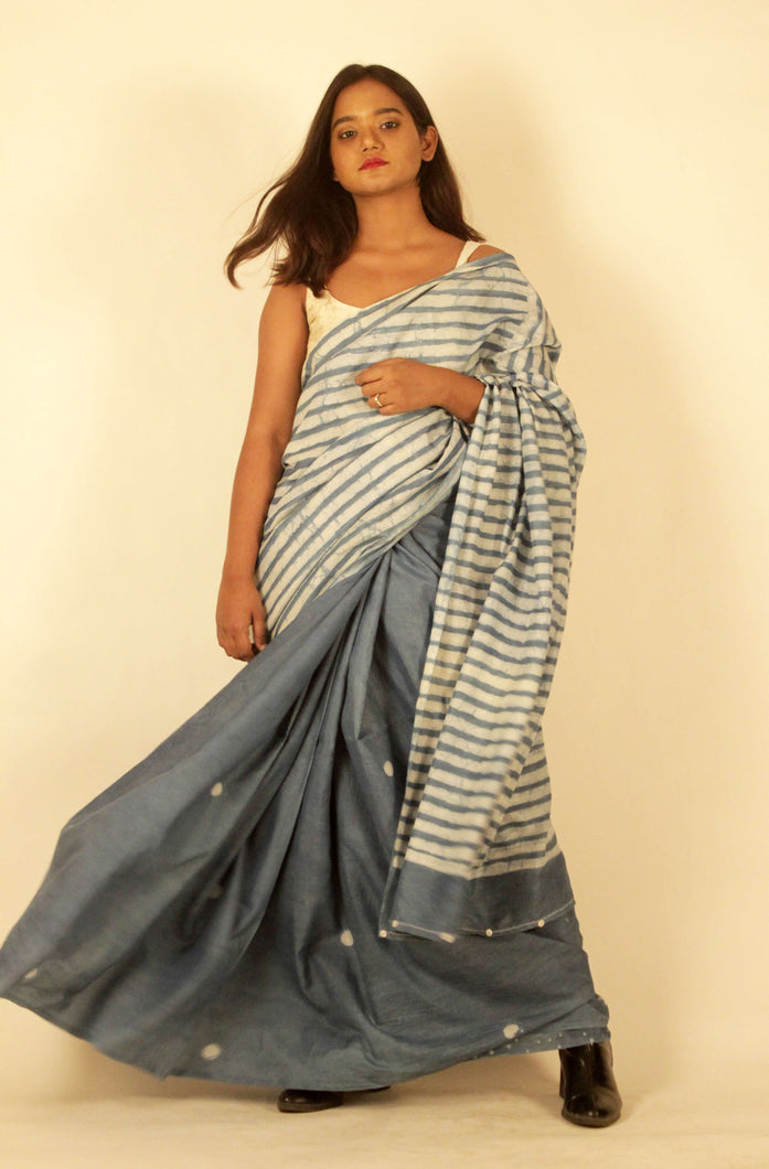 Nora | Natural Indigo mulberry silk saree