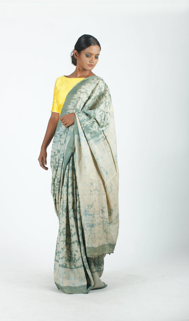 Mukta Saree | Dabu printed tusar silk saree using natural dyes-Resha.in