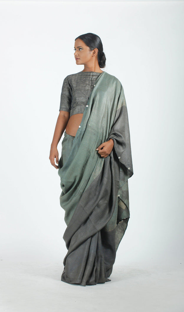 Olivia Saree | Dabu printed tusar silk saree using natural dyes-Resha.in