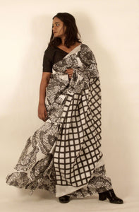 Meline | Floral printed pure silk saree with natural dye