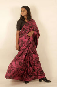 Alida | Mulberry silk saree with floral print