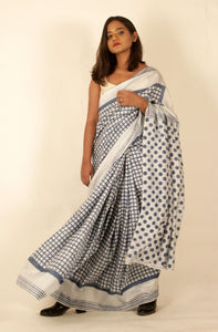 Willow | Natural indigo block printed  mulberry silk saree