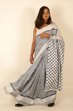 Load image into Gallery viewer, Maya | Natural indigo block printed  mulberry silk saree
