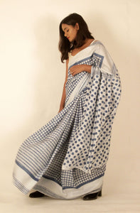 Maya | Natural indigo block printed  mulberry silk saree