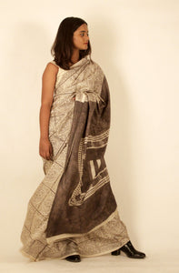 Athena | Mulberry silk saree with block print