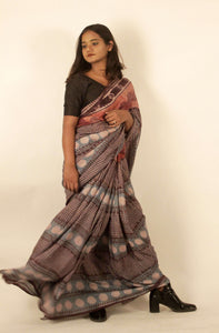 Akshita | Mulberry silk saree with dabu print