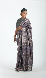 Rathi Saree | Dabu printed tusar silk saree using natural dyes-Resha.in