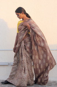 Adele | Dabu printed pure silk saree using natural dyes