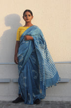 Load image into Gallery viewer, Alison | Natural indigo printed silk saree