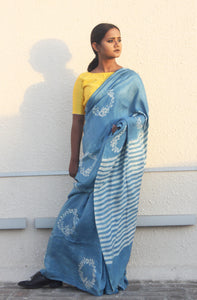 Alison | Natural indigo printed silk saree