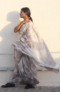 Amelie | Pure silk saree with dabu print