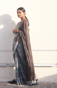 Bella | Mulberry silk saree with dabu print using natural dyes