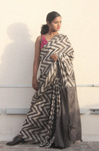 Adalene | Pure silk saree dabu printed with natural dyes-Saree-Resha.in-RESHA