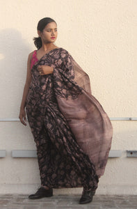 Bridgette | Dark brown pure silk saree with floral print
