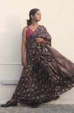 Load image into Gallery viewer, Bridgette | Dark brown pure silk saree with floral print