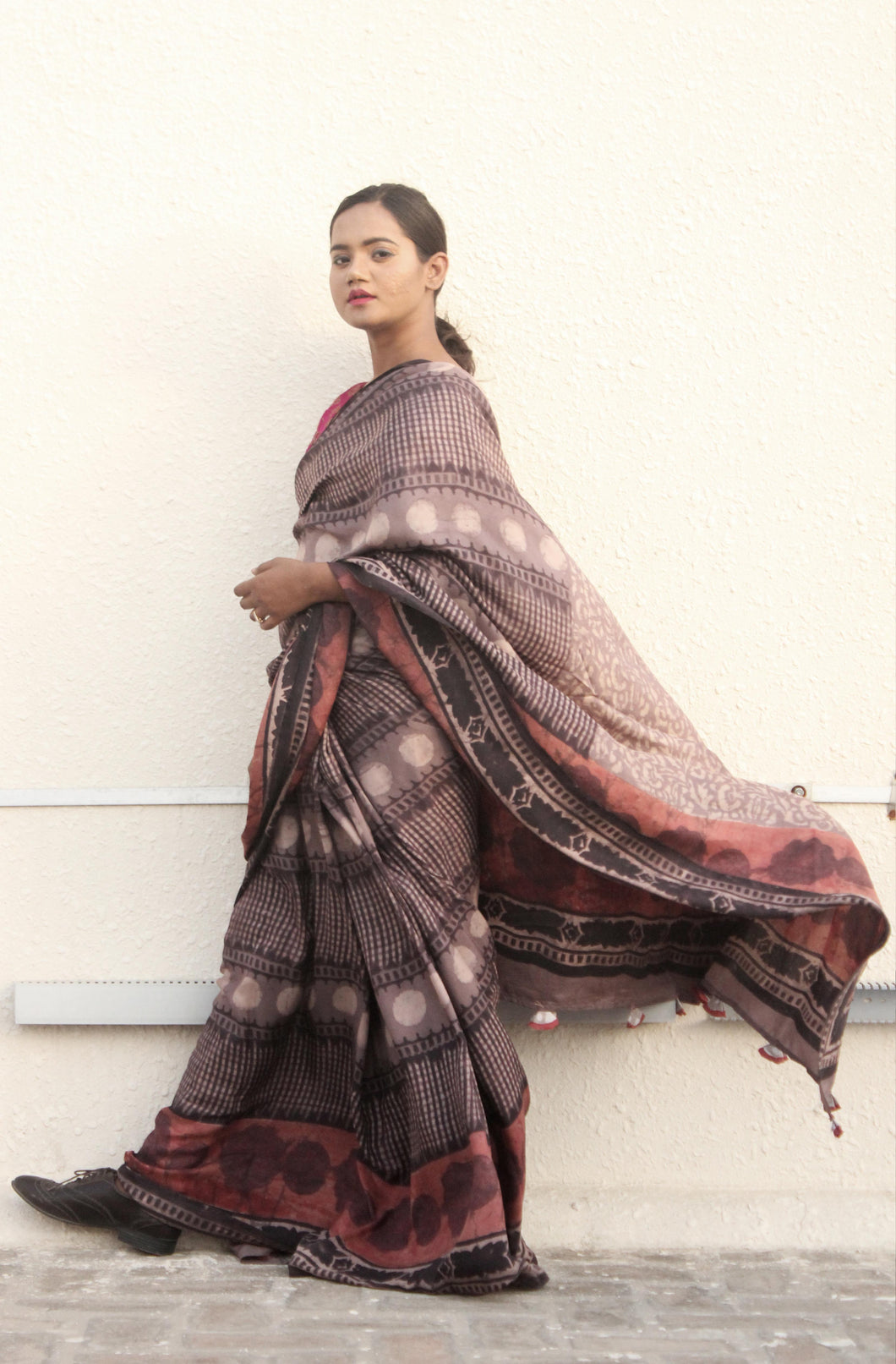 Celeste | Dabu printed pure silk saree