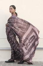 Load image into Gallery viewer, Clara |  Earthy brown mulberry silk saree with dabu print