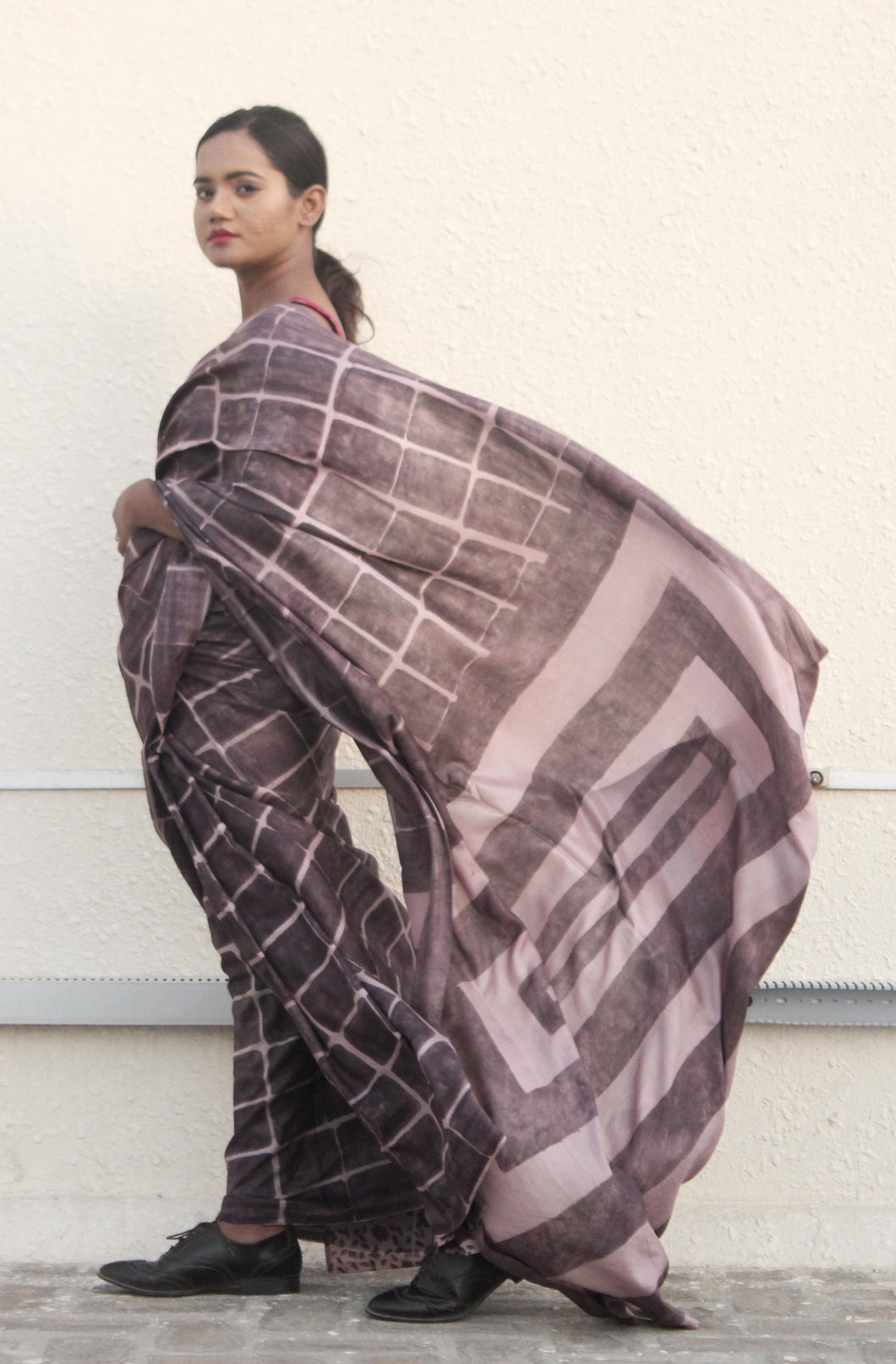 Clara |  Earthy brown mulberry silk saree with dabu print