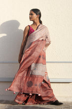 Load image into Gallery viewer, Emile | Pure Tusar silk saree with dabu print using natural dyes