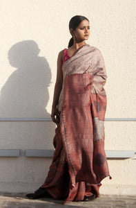 Emile | Pure Tusar silk saree with dabu print using natural dyes