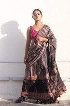 Load image into Gallery viewer, Esmée | Dark brown mulberry silk saree with dabu print