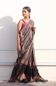 Esmée | Dark brown mulberry silk saree with dabu print