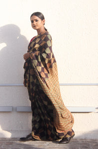Estelle | Earthy brown pure silk saree