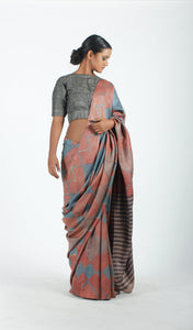 Saachi Saree | Dabu printed tusar silk saree using natural dyes-Resha.in