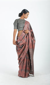 Jagruti Saree | Dabu printed tusar silk saree using natural dyes-Resha.in