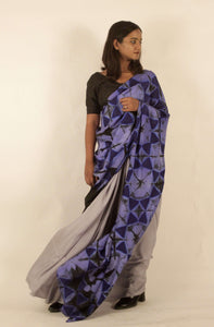 Violet | Clamp dyed mulberry silk saree