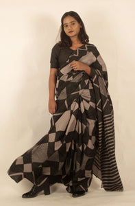 Liana | Dark brown mulberry silk saree