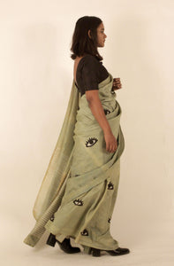 Julie | Mulberry silk saree with block printed eyes