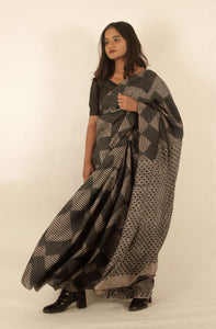 Nomi | Handblock printed pure silk saree