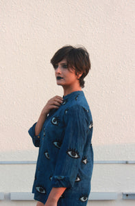 Idika's shirt | Indigo shirt with block printed eyes