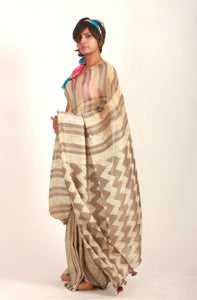 Ellen | Mulberry silk saree with dabu print