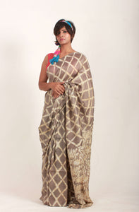 Femma | Earthy brown color pure silk saree