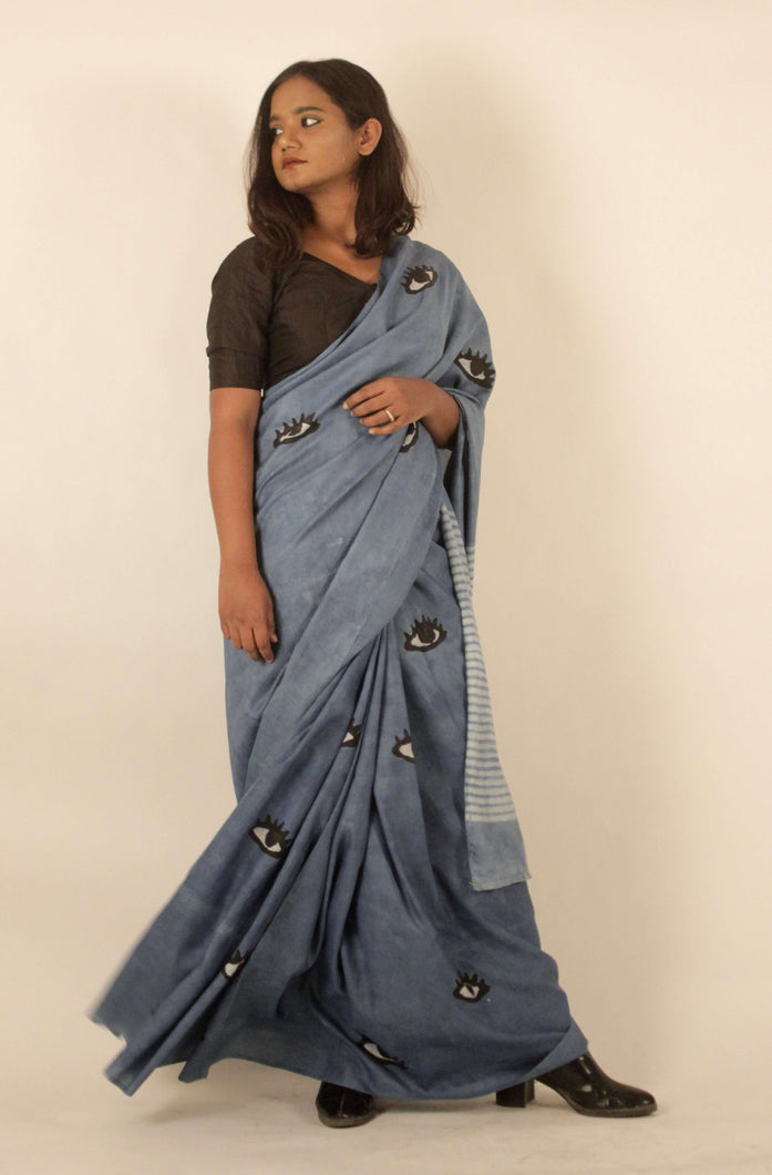 Elaina | Block printed mulberry silk saree