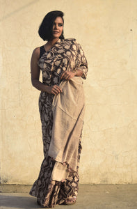 Sasha | Dark Brown silk saree with floral print