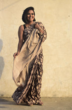 Load image into Gallery viewer, Sasha | Dark Brown silk saree with floral print