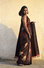Load image into Gallery viewer, Firoza | Mulberry silk saree with dabu print