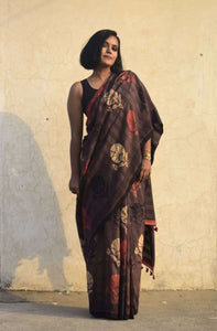 Firoza | Mulberry silk saree with dabu print