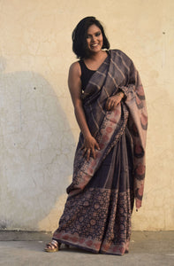 Jaclin | Tussar silk saree with dabu print