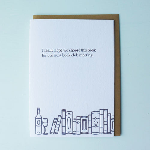 Next Bookclub Book Bookish Letterpress Card