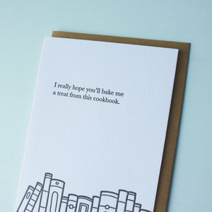Cookbook Treat Bookish Letterpress Card