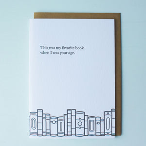 Favorite Book Your Age Bookish Letterpress Card